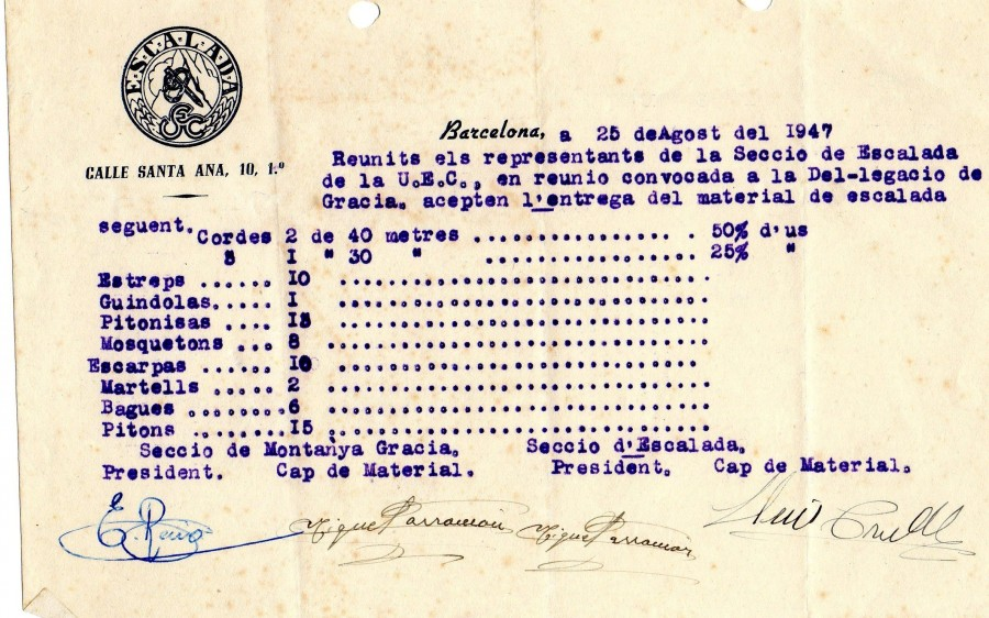 Primer document secció escalada (1947)
